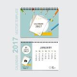 Conception de vecteur de planificateur de 2017 calendriers, calibre mensuel f de calendrier Images stock