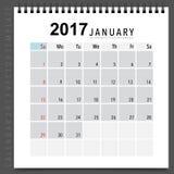 Conception de vecteur de planificateur de 2017 calendriers, calibre mensuel f de calendrier Image libre de droits