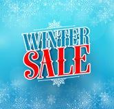 Conception de vecteur de titre de vente d'hiver pour la promotion de vacances dans la couleur bleue Images libres de droits