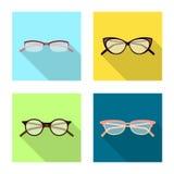 Conception de vecteur des verres et de l'icône de cadre Ensemble de verres et de symbole boursier accessoire pour le Web illustration libre de droits