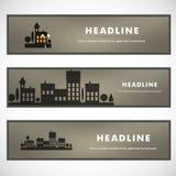 Conception de vecteur du paysage urbain noir ENV de silhouette Photographie stock
