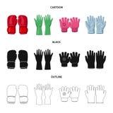 Conception de vecteur de gant et de logo d'hiver Ensemble d'icône de vecteur de gant et d'équipement pour des actions illustration libre de droits