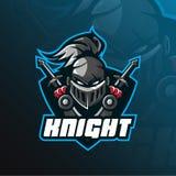 Conception de vecteur de logo de mascotte de chevalier avec le style moderne de concept d'illustration pour l'impression d'insign illustration stock
