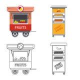 Conception de vecteur de marché et de logo extérieur Ensemble de symbole boursier du marché et de nourriture pour le Web illustration stock