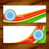 Conception de vecteur réglée par bannières indiennes de drapeau Photos libres de droits