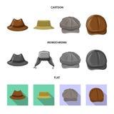 Conception de vecteur de signe de couvre-chef et de chapeau Ensemble de symbole boursier de couvre-chef et d'accessoire pour le W illustration stock