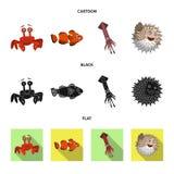 Conception de vecteur de signe de mer et d'animal Ensemble de mer et icône marine de vecteur pour des actions illustration libre de droits