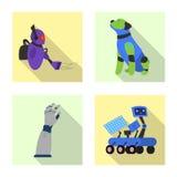 Conception de vecteur de signe de robot et d'usine Ensemble d'icône de vecteur de robot et d'espace pour des actions