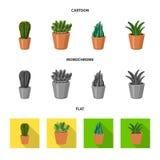 Conception de vecteur de symbole de cactus et de pot L'ensemble de cactus et les cactus dirigent l'icône pour des actions illustration libre de droits