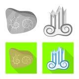 Conception de vecteur de symbole d'histoire et d'articles Placez du symbole boursier d'histoire et d'attributs pour le Web illustration stock