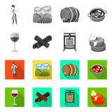 Conception de vecteur de symbole de ferme et de vignoble Collection d'illustration de vecteur d'actions de ferme et de produit illustration de vecteur