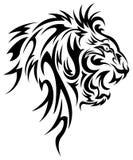 Conception de vecteur de tatouage de tête de lion image stock