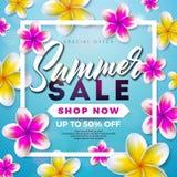 Conception de vente d'été avec la fleur et les feuilles exotiques sur le fond bleu Illustration florale tropicale de vecteur avec illustration libre de droits