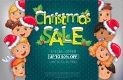 Conception de vente de Noël avec les enfants mignons illustration de vecteur