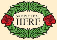 Conception de vintage avec les roses rouges Images stock