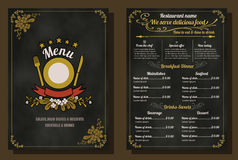 Conception de vintage de menu de nourriture de restaurant Image stock
