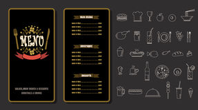 Conception de vintage de menu de nourriture de restaurant avec le fond v de tableau Photos stock