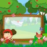 Conception de vue avec la fille et le renard illustration libre de droits