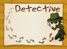 Conception de vue avec le détective et les empreintes de pas Image libre de droits
