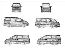 Conception de Wireframe de Van car Images libres de droits