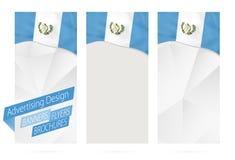Conception des bannières, insectes, brochures avec le drapeau du Guatemala illustration libre de droits