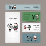 Conception des cartes de visite professionnelle de visite avec le concept d'arbre d'argent Photographie stock