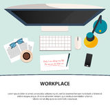 Conception des lieux de travail Citation de motivation Illustration plate de vecteur Images libres de droits