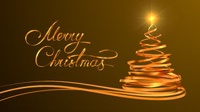 Conception des textes d'or de Joyeux Noël et de Noël Photo stock