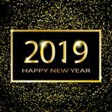 Conception des textes de la bonne année 2019 Illustration de salutation de vecteur avec des nombres et des étincelles d'or sur un illustration de vecteur
