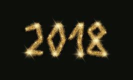 Conception des textes de la bonne année 2018 Nombre de branches d'arbre de Noël d'or sur un fond noir Photos libres de droits
