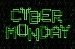 Conception des textes de lundi de Cyber Lettres vertes de découpe sur le fond noir Calibre d'affiche de promo, illustration de ve illustration stock