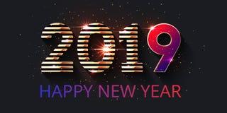 conception des 2019 textes et bonne année d'inscription illustration libre de droits