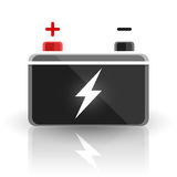 Conception des véhicules à moteur de batterie de voiture de 12 volts de concept sur le fond blanc Photos libres de droits