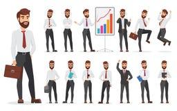 Conception différente de poses de bureau de caractère beau d'homme d'affaires Illustration d'homme de bande dessinée de vecteur illustration de vecteur