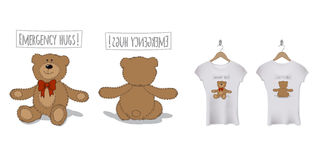 Conception drôle d'impression de T-shirt avec l'ours de nounours Descripteur de vecteur Photos stock