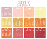 Conception du calendrier 2017 Images libres de droits