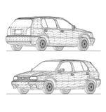 conception du wireframe 3D de voiture Photographie stock libre de droits