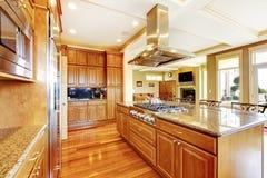 Conception en bois moderne de pièce de cuisine avec le plancher en bois dur, île, g Photo libre de droits