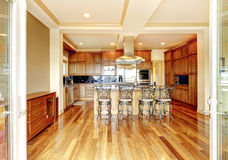 Conception en bois moderne de pièce de cuisine avec le plancher en bois dur, cuisine i Image stock