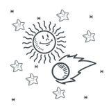 Conception en forme d'étoile de croquis de l'espace du soleil d'étoiles illustration de vecteur