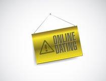 Conception en ligne d'illustration de panneau d'avertissement de datation illustration libre de droits