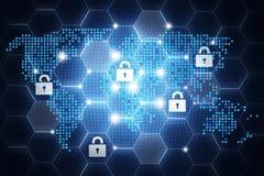 Conception en ligne de sécurité de Digital, concept avec l'aroun d'icônes de cadenas Images stock