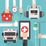 Conception en ligne médicale d'ambulance plate Image libre de droits