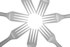 Conception en plastique de fourchette sur le blanc image stock