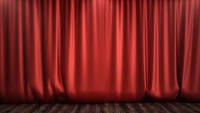 conception en soie rouge de luxe de décoration de rideaux en velours de l'illustration 3D, idées Rideau rouge en étape pour la sc Image libre de droits