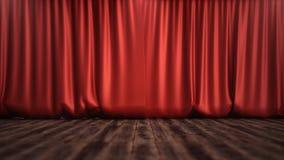 conception en soie rouge de luxe de décoration de rideaux en velours de l'illustration 3D, idées Rideau rouge en étape pour la sc Photos stock