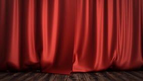 conception en soie rouge de luxe de décoration de rideaux en velours de l'illustration 3D, idées Rideau rouge en étape pour la sc Photos libres de droits