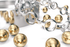 Conception of equipment. A group of bearings on a white background. 3d rendering. Stock Photos
