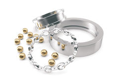 Conception of equipment. A group of bearings on a white background, 3d rendering. Stock Image