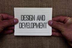 Conception et développement d'apparence de signe des textes La photo conceptuelle définissant les spécifications des produits et  images libres de droits